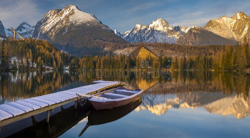Panorama of a mountain lake in winter scenery, Strbske Pleso, Sl stock photography