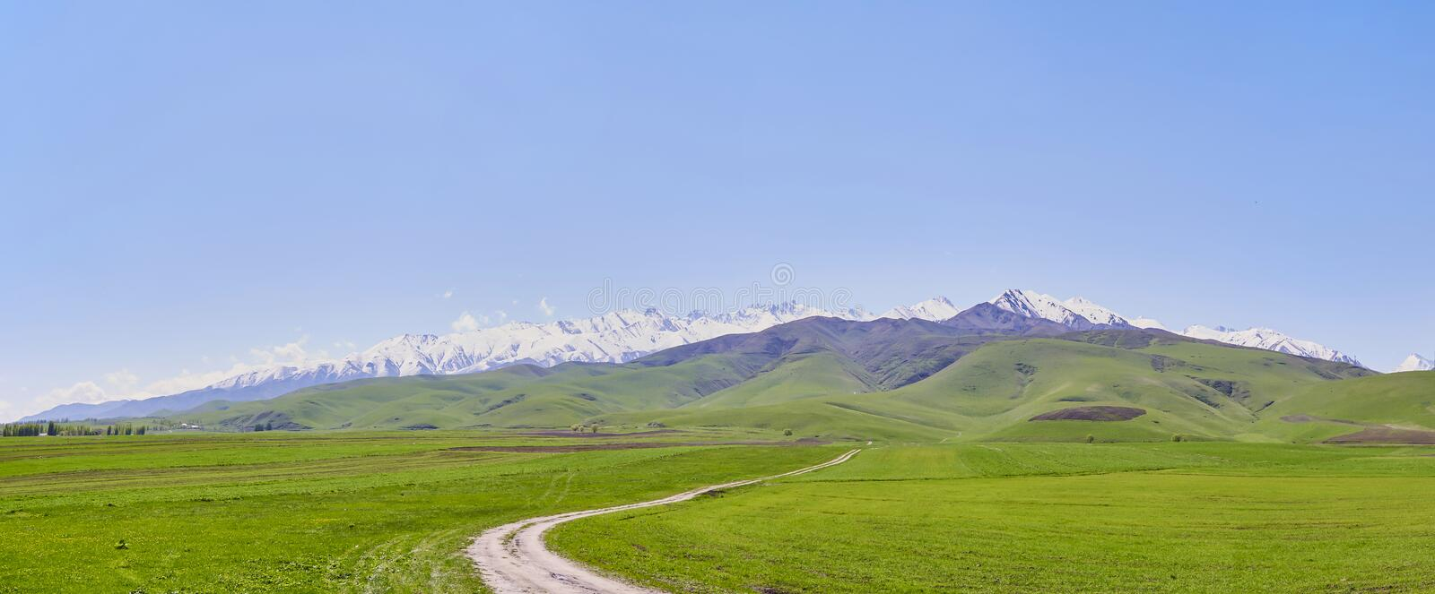 Panorama, mountain landscape, in the foreground young green grass against the backdrop of a mountain range with snowy peaks stock photos