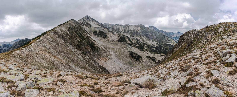 Panorama of Mountain Pirin and peak Polezan stock images