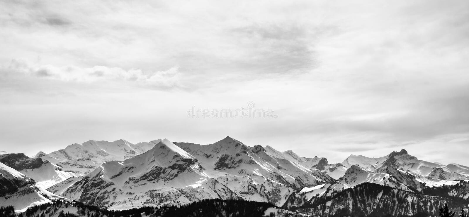 Panorama of mountain range in black and white royalty free stock photography