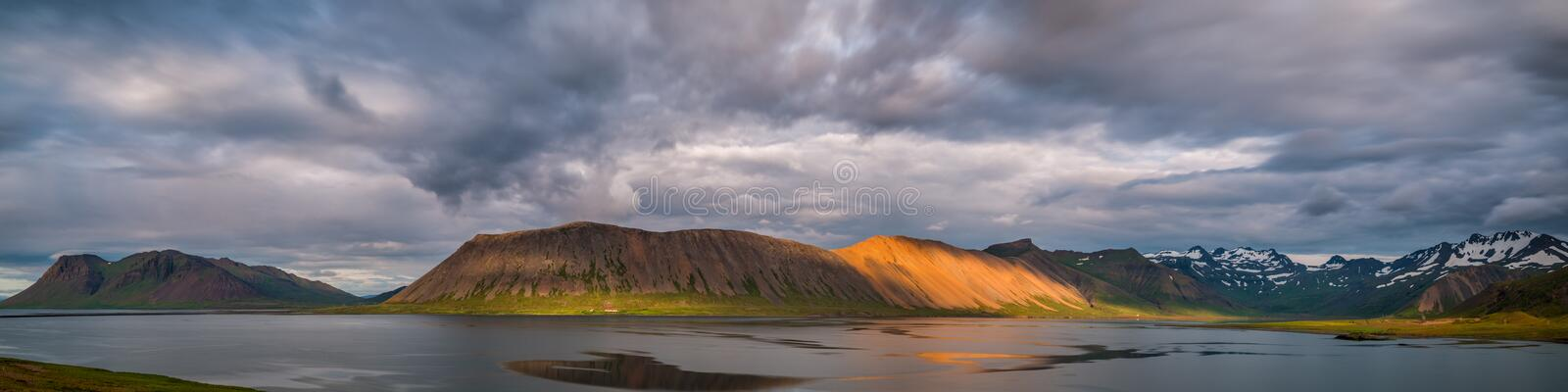 Panorama of a Mountain Range in Iceland. Scenic view of mountains in Iceland stock images