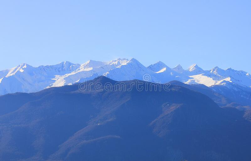 Panorama of mountain range in Italy stock photos