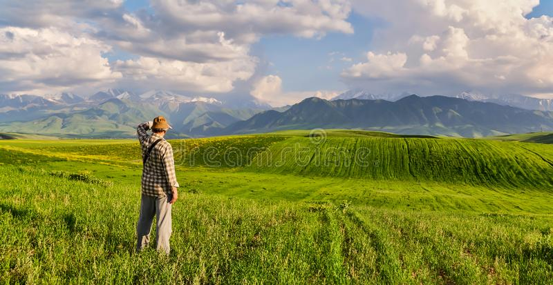 Panorama of a mountain valley in summer. Adult man looks into the distance. Amazing nature, mountains, lit by the sun in clear wea royalty free stock images