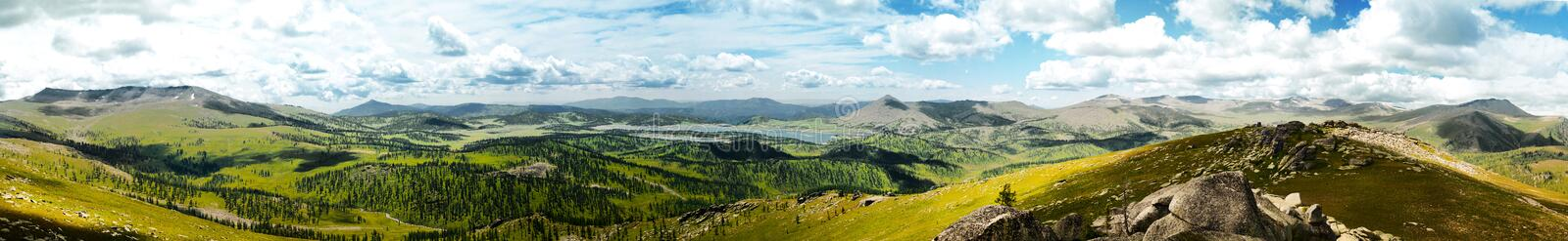 Panorama of a mountain valley stock image