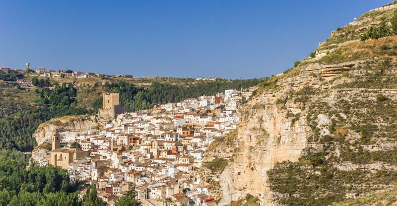 Panorama of mountain village Alcala del Jucar. Spain royalty free stock photos