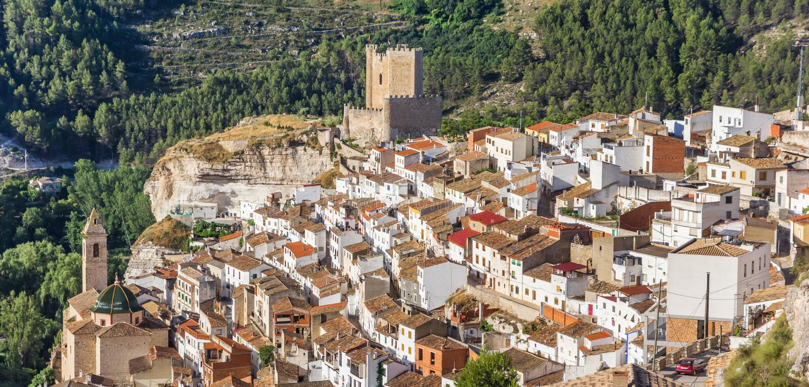 Panorama of mountain village Alcala del Jucar. Spain royalty free stock images