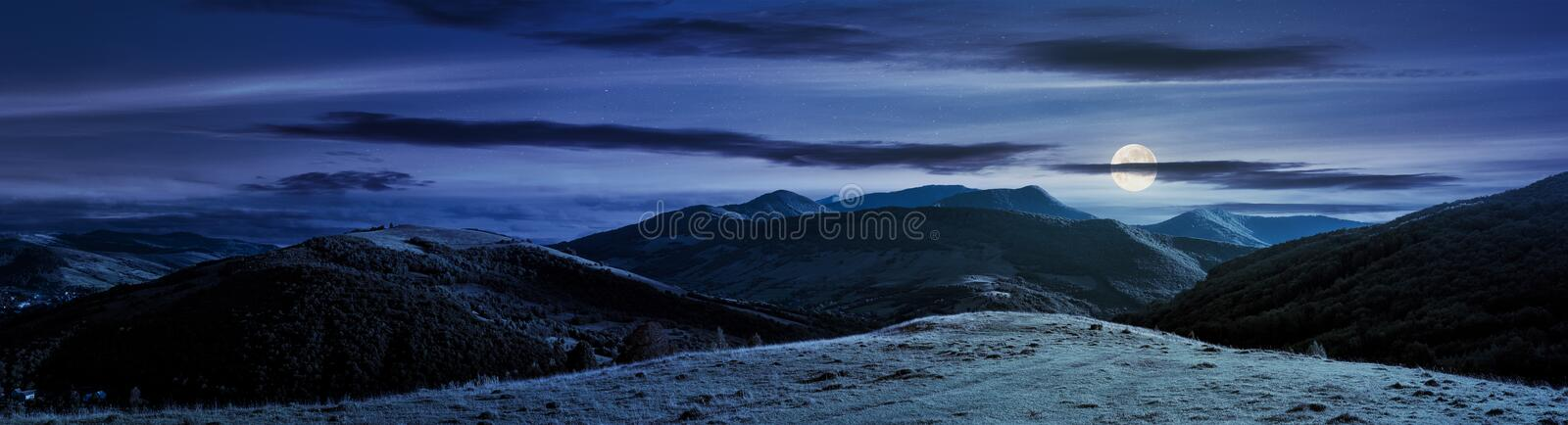 Panorama of mountainous countryside at night stock photography