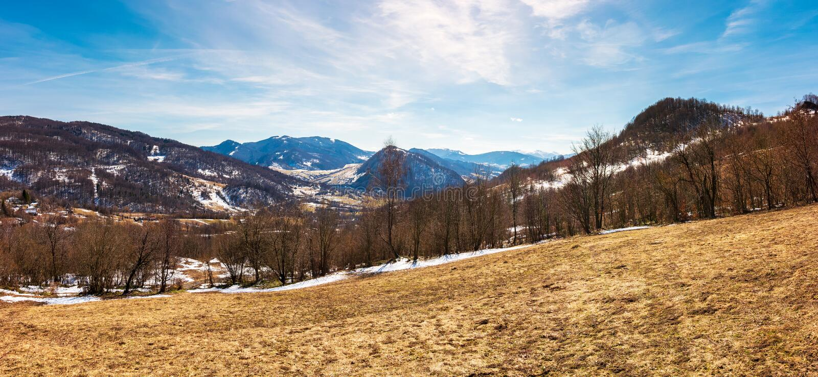 Panorama of mountainous countryside in springtime stock images