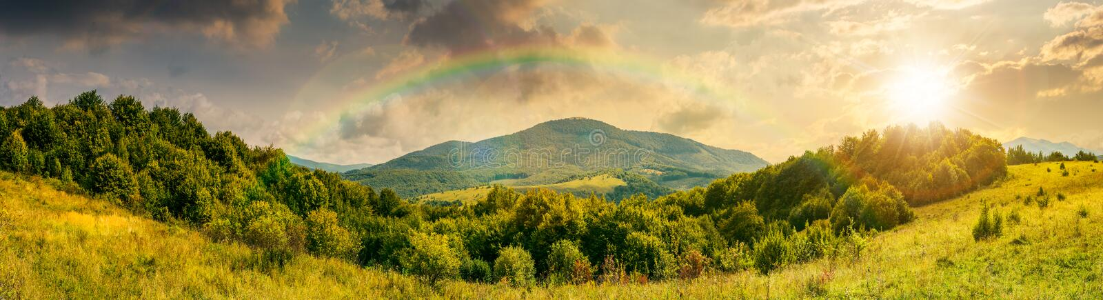 Panorama of mountainous countryside at sunset royalty free stock photos