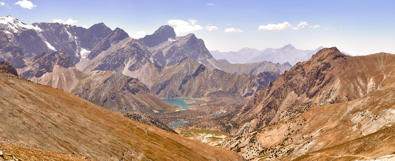 Panorama of the mountains. Lake Kulikolon. Pamir, Tajikistan. HDR stock photography