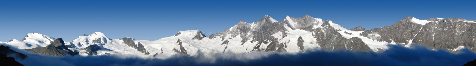 Panorama of mountains in Valais, Switzerland stock images