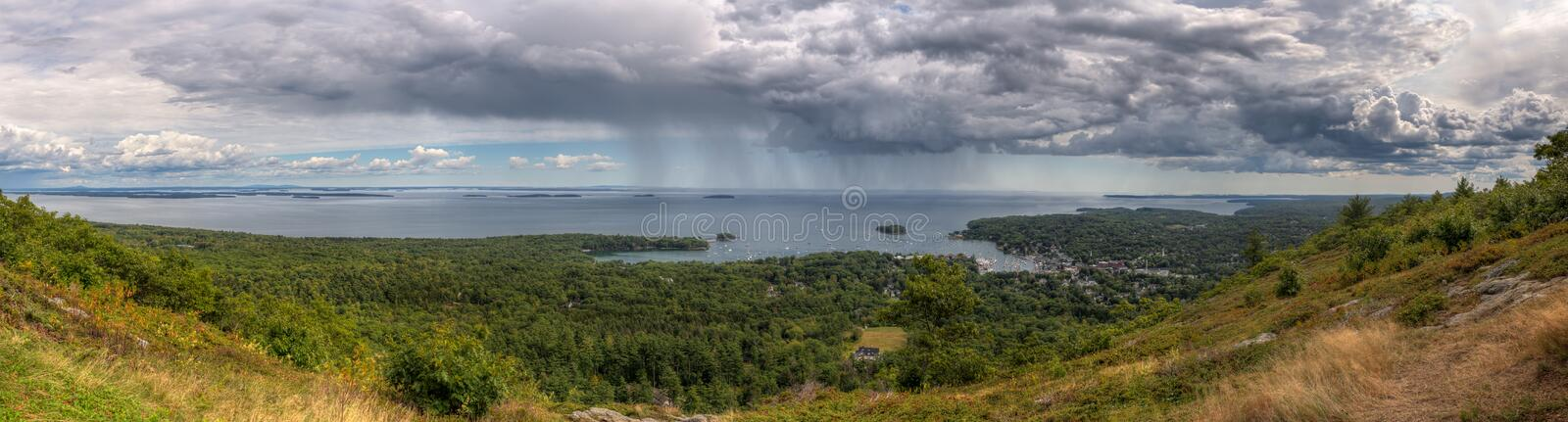 Panorama From Mt Battie in Camden Maine stock photo