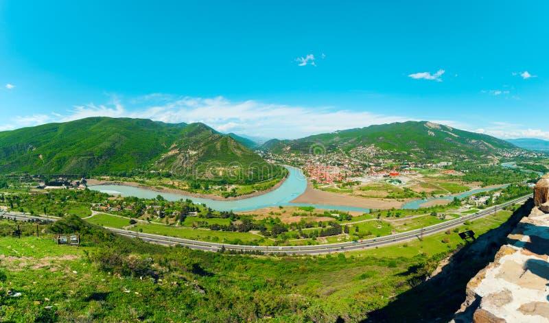 Panorama Mtskheta od monasteru Jvari Gruzja obrazy royalty free