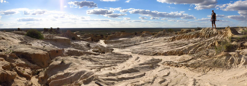 Panorama - Mungonationalpark, NSW, Australien arkivbilder
