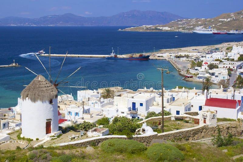 Panorama of Mykonos, Greece royalty free stock photography