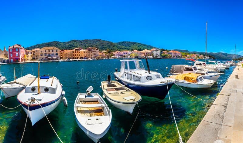 Panorama na Croácia, ilha Hvar do verão fotografia de stock royalty free
