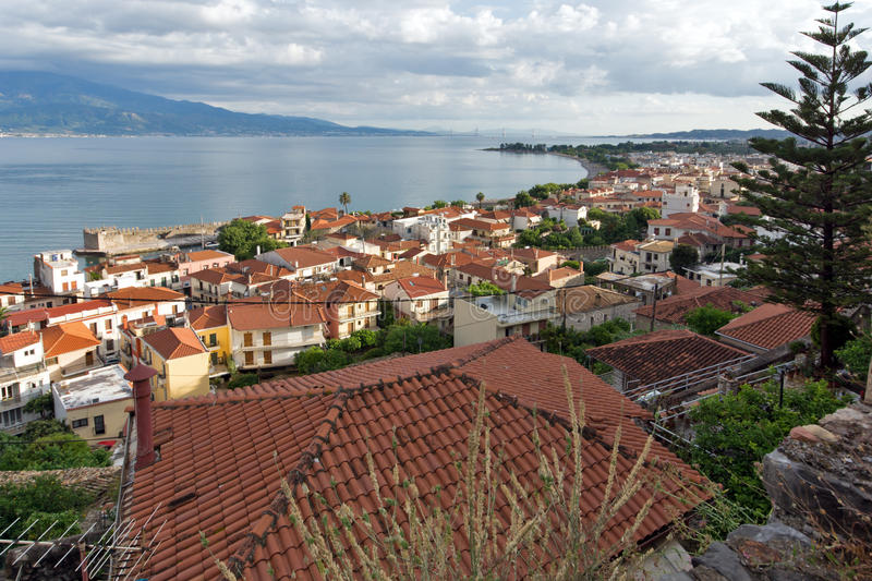 Panorama of Nafpaktos town and cable bridge between Rio and Antirrio, Greece. Panorama of Nafpaktos town and cable bridge between Rio and Antirrio, Western royalty free stock photography
