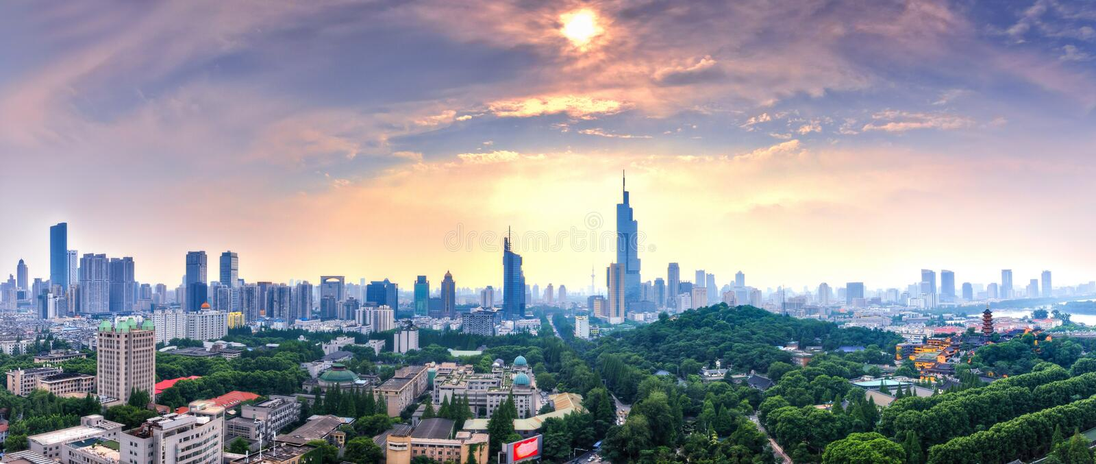 Panorama of Nanjing City. A panorama of west Nanjing city skyline taken at the summer sunset stock image