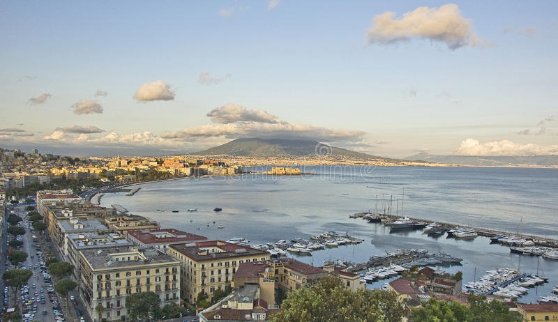 Panorama of Naples bay. Panorama of the city of Naples, italy stock images