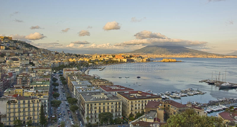 Panorama of Naples bay. Panorama of the city of Naples, italy stock photos