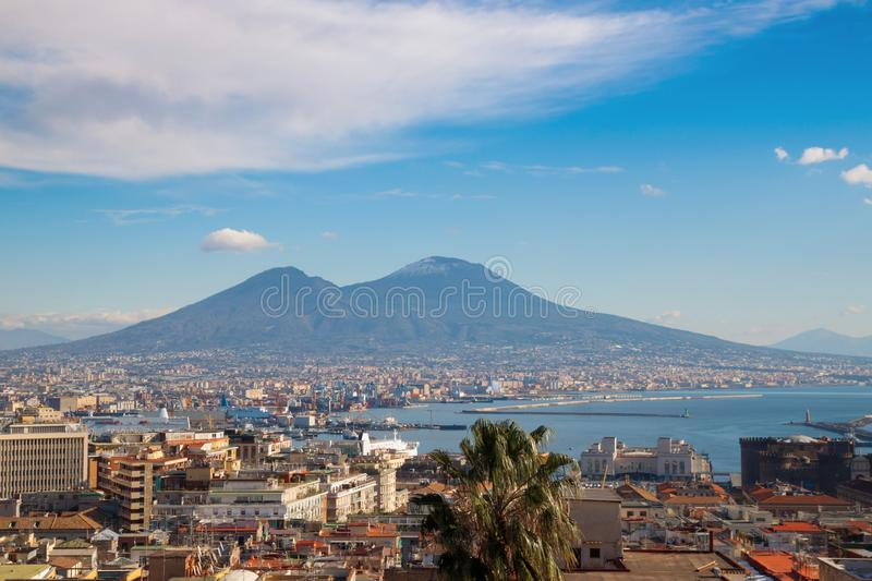 Panorama of Naples, Italy with view of Mount Vesuvius royalty free stock images