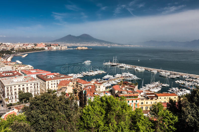 Panorama of Naples with Mount Vesuvius and the Bay. View of the bay of Naples and Mount Vesuvius from a high point royalty free stock images