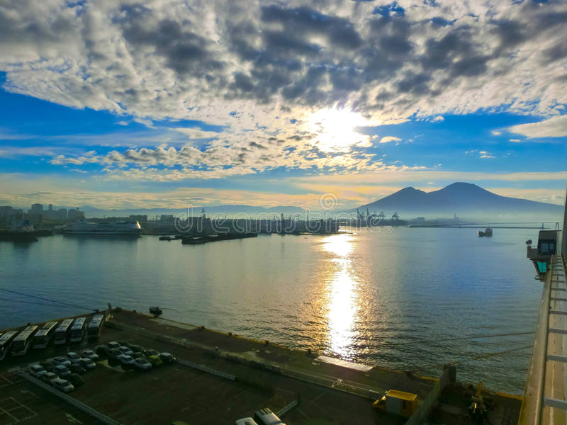 Panorama of Naples, view at port in the Gulf. Panorama of Naples, view of the port in the Gulf of Naples and Mount Vesuvius. The province of Campania. Italy stock image