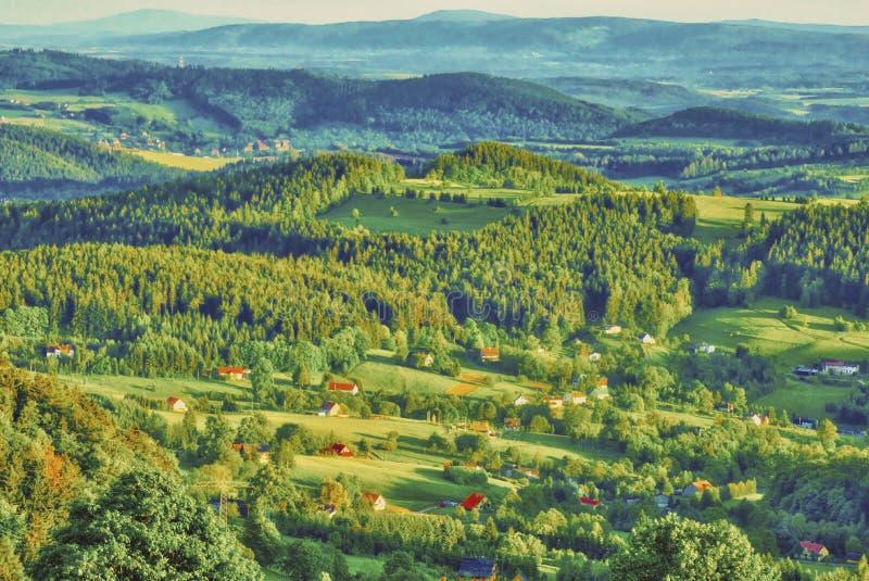 Panorama nas montanhas de Sudeten fotografia de stock royalty free