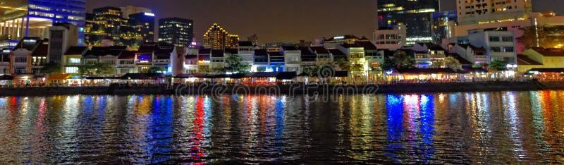 Panorama- nattstadslandskap royaltyfria foton