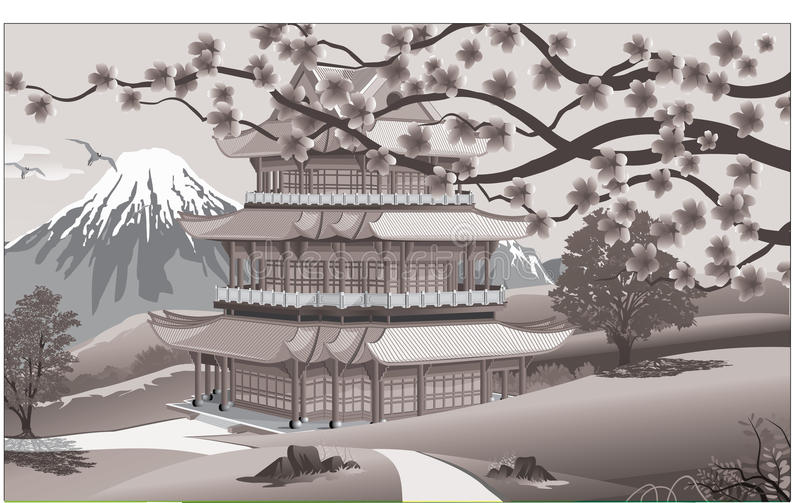 Panorama of nature, Asia Palace vector illustration