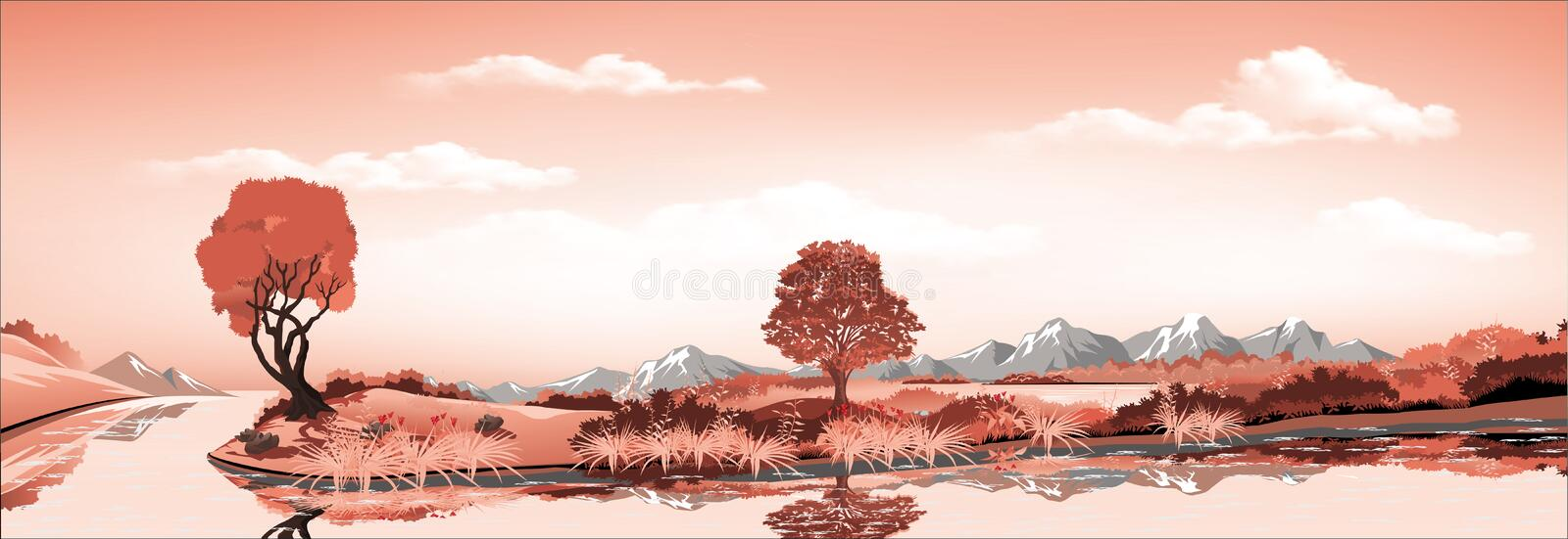 Panorama of nature-the island in the lake, volcano, mountains, rivers and hills with trees. royalty free illustration
