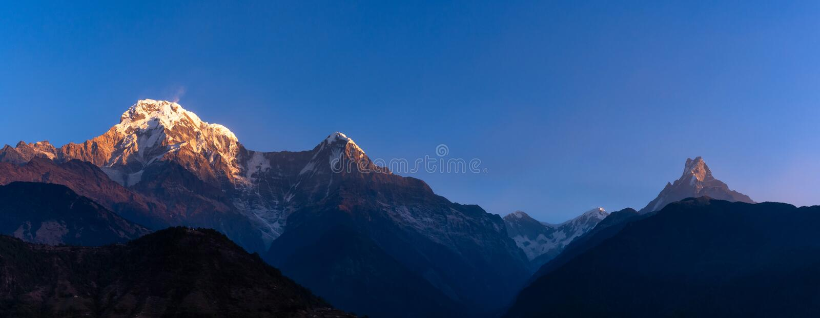 Panorama nature view of Himalayan mountain stock photography