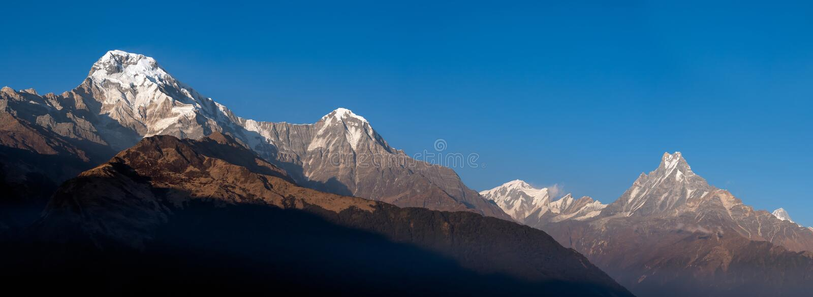 Panorama nature view of Himalayan mountain range royalty free stock photos