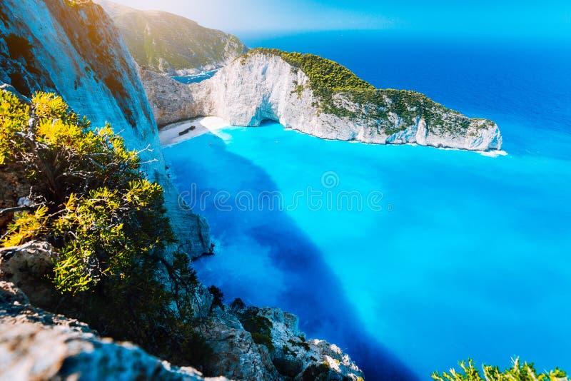 Panorama of Navagio beach Shipwreck bay Zante from view point. Zakynthos Greece.  stock photo