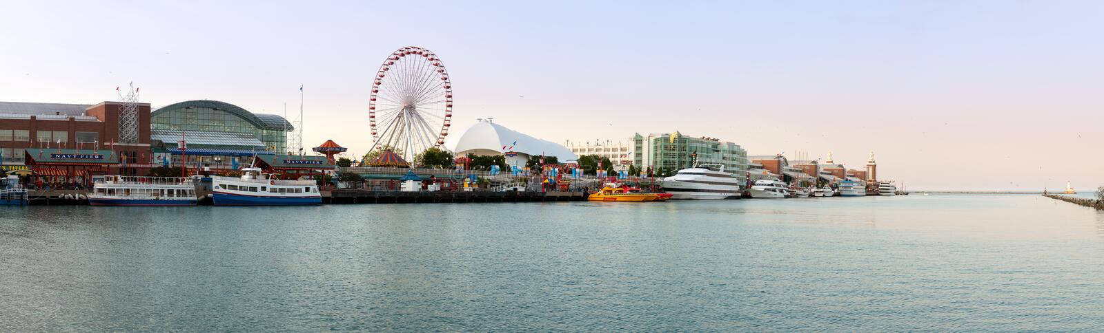 Panorama of Navy Pier in Chicago. CHICAGO - MAY 14: Panorama of Navy Pier on May 14, 2012. Navy Pier is a 3300 foot pier built in 1916 stock image
