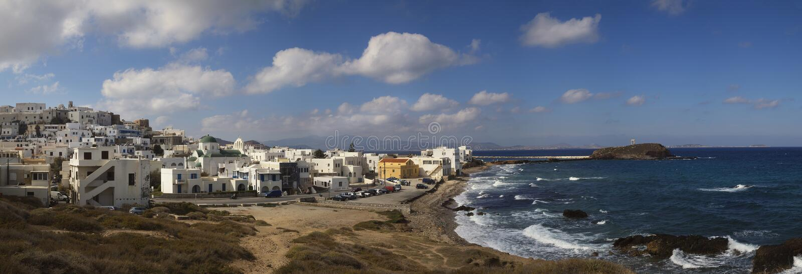 Panorama of Naxos in Greece royalty free stock images