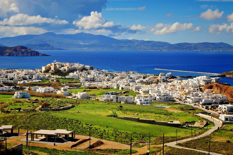 Panorama of Naxos town, Cyclades royalty free stock image