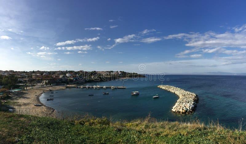 Panorama from Nea Fokea. Panorama from the harbour of Nea Fokea royalty free stock image