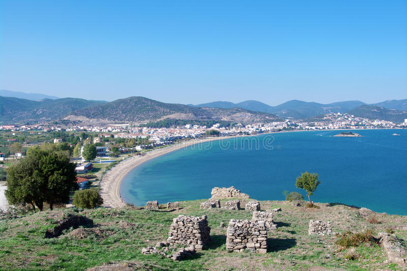 Panorama of Nea Peramos and Aegean sea. Panorama of Nea Peramos beach and Aegean sea from the ruins on the top stock photos