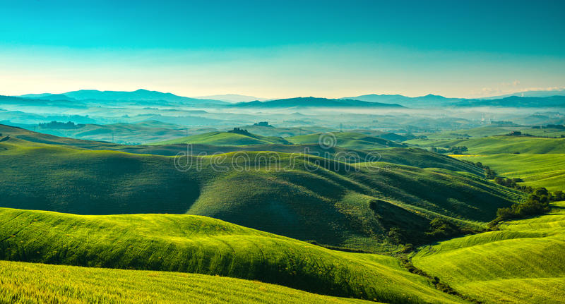 Panorama nebbioso di Volterra, Rolling Hills e campi verdi nella m. fotografie stock