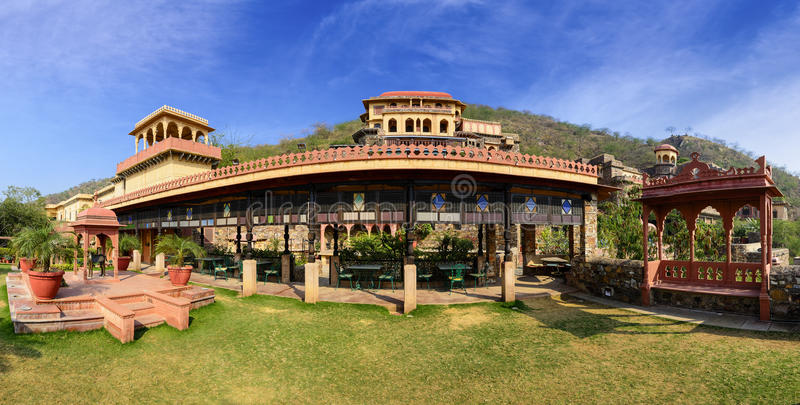 Panorama of Neemrana Fort Palace, Rajasthan, India. Old Indian Fort Palace converted into a heritage hotel, Neemrana Fort Palace. The Fort is located at an royalty free stock images