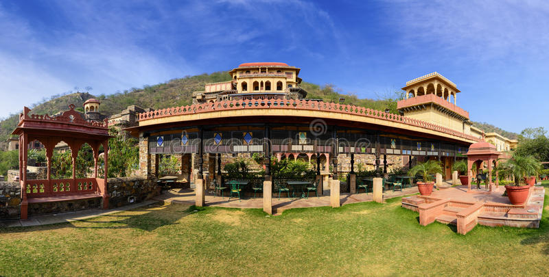 Panorama of Neemrana Fort Palace, Rajasthan, India. Old Indian Fort Palace converted into a heritage hotel, Neemrana Fort Palace. The Fort is located at an royalty free stock photo