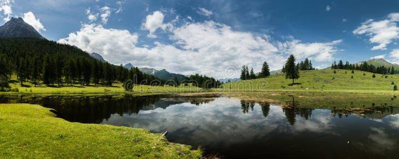 Panorama nero del lago della montagna dell'acqua con i campi verdi e paesaggio della foresta in Svizzera fotografie stock