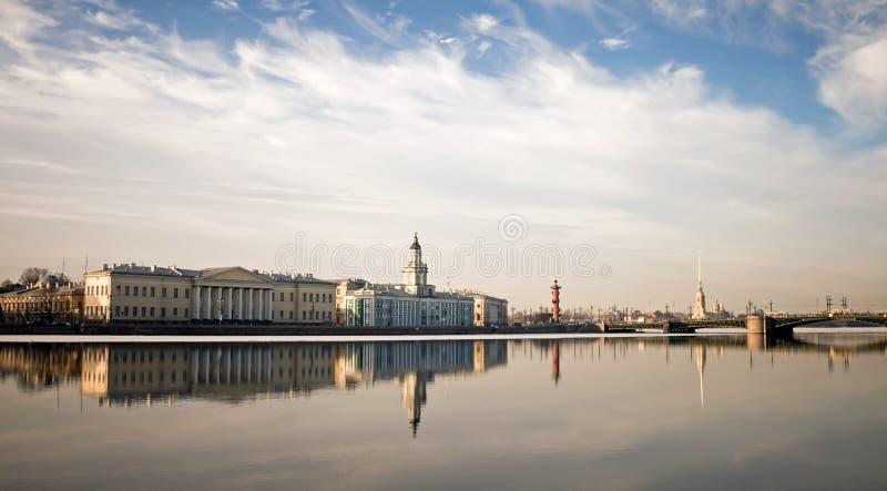 Panorama of Neva river in Saint-Petersburg royalty free stock photos