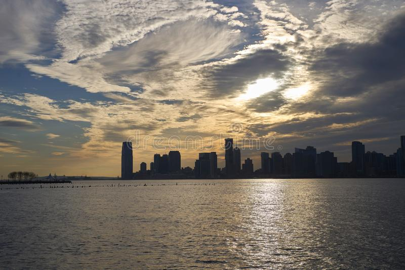 Panorama of New Jersey in the setting sun. stock photo