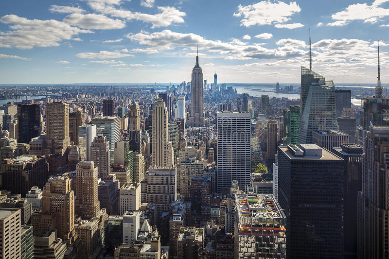 Panorama of New York City: midtown and downtown stock photo