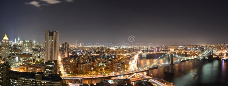 Panorama- New York på natten royaltyfri fotografi