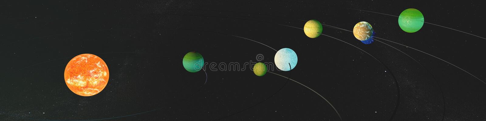 Panorama newly discovered exoplanets in TRAPPIST-1 system. The creative idea of the seven planets, and the new sun. royalty free illustration