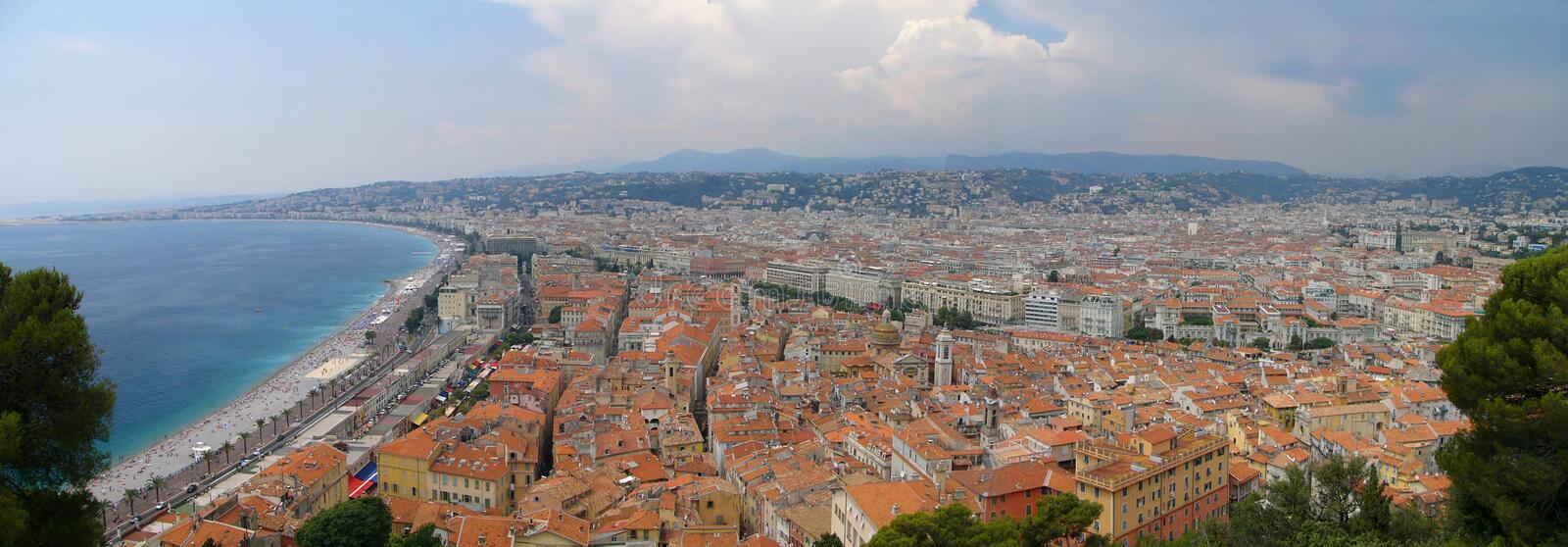 Panorama of Nice /France/. Panoramic view of the Promenades des Anglais and the Old town in Nice royalty free stock photo