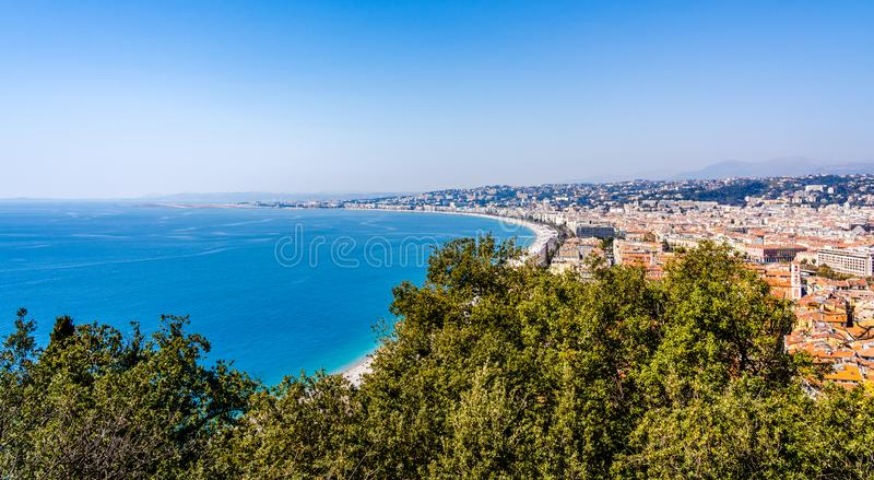 Panorama of Nice, France on the Cote d`Azur French Riviera, Mediterranean Sea seen from Castle Hill royalty free stock image